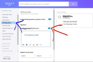how to add yahoo signature