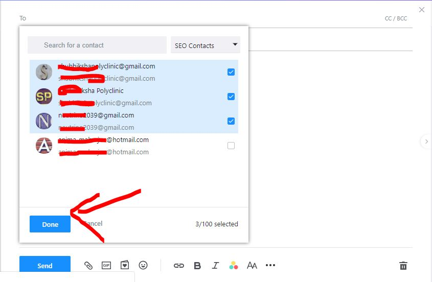sending email from contact list