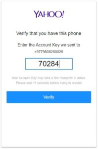 ymail signup verification
