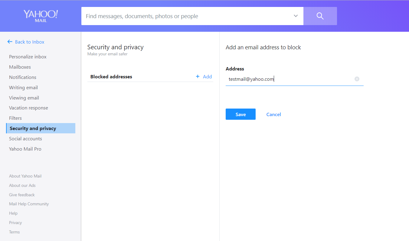 Block an Email Address in Yahoo Mail Account manually