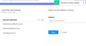 block email address on yahoo mail