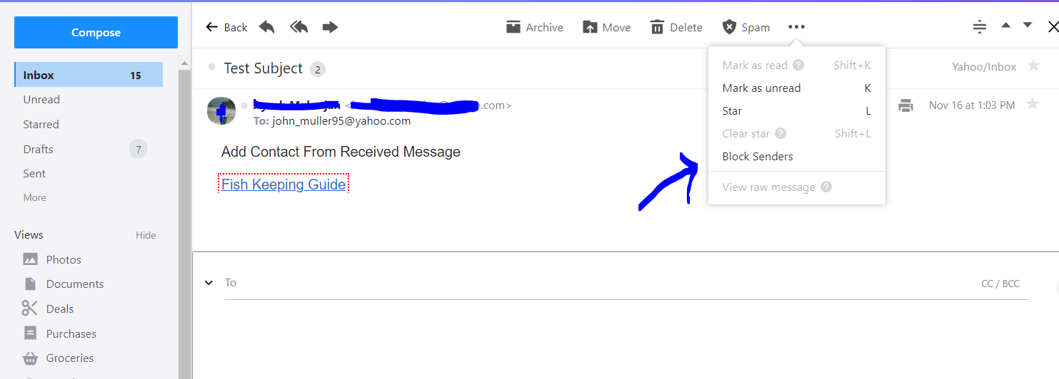 blocking senders from inbox