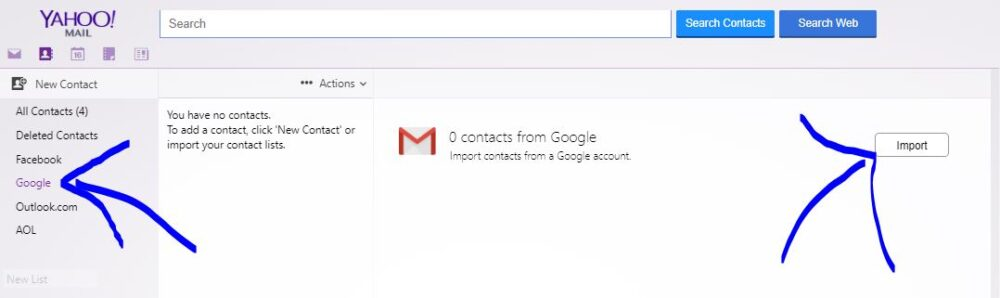 import contacts from another email account to yahoo mail account