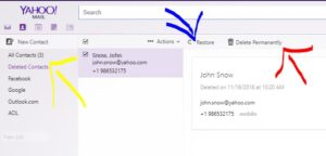 premanently delete or restore contact detail on ymail account