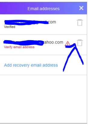 remove recovery account from ymail account