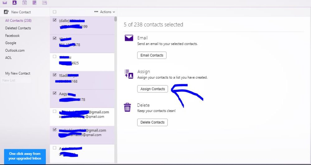 move contatct to new contact list on ymail account