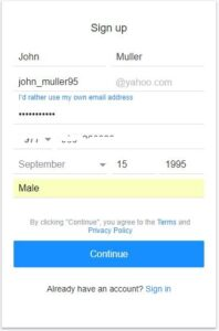 yahoo mail sign up form