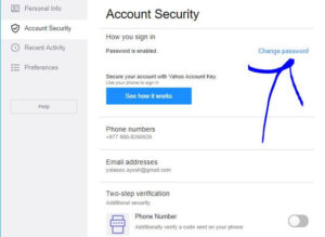 Yahoo Mail Account Setting Page To Change Password