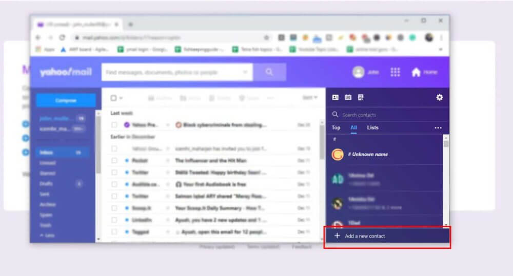 Manually adding Yahoo Contacts in new yahoo mail