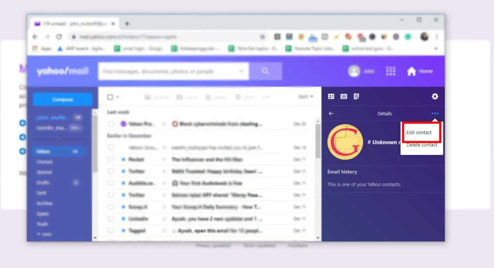 edit contacts in new yahoo mail