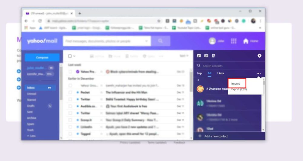 import contacts on Yahoo Mail