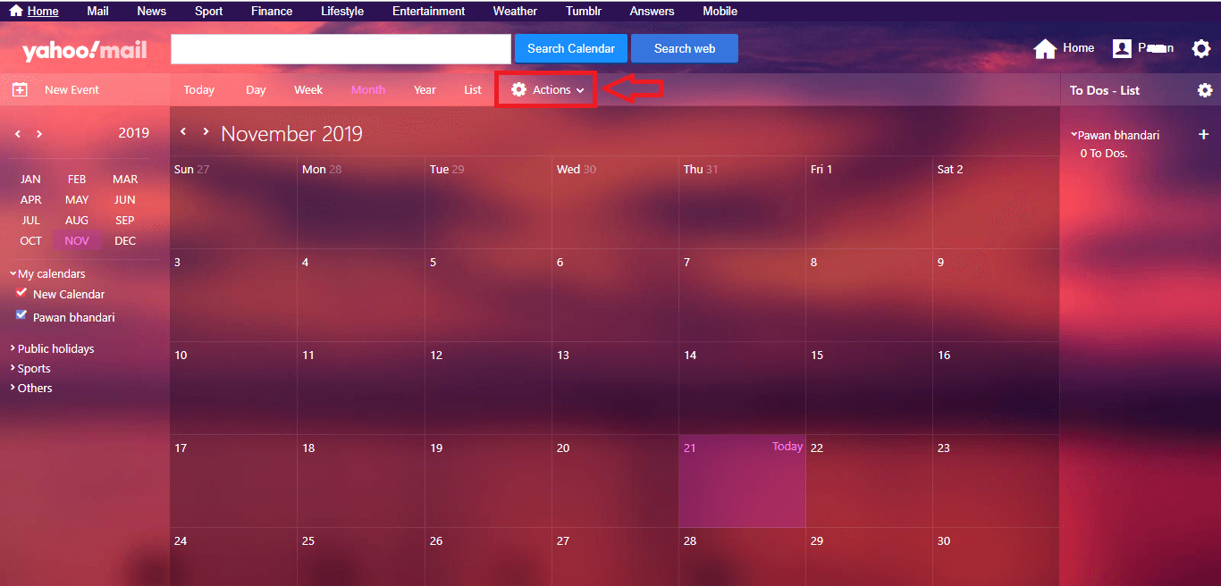Action icon - create calender