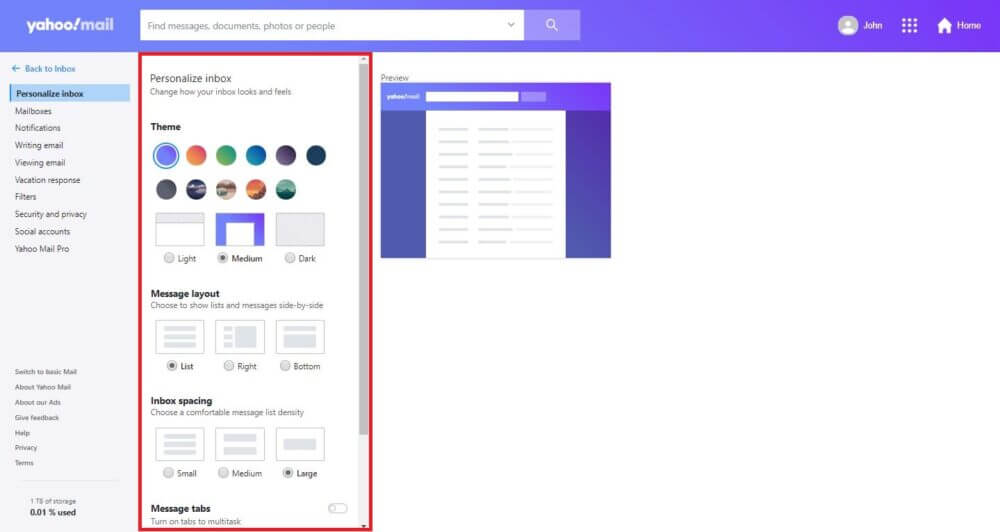 Customize Your Yahoo Inbox