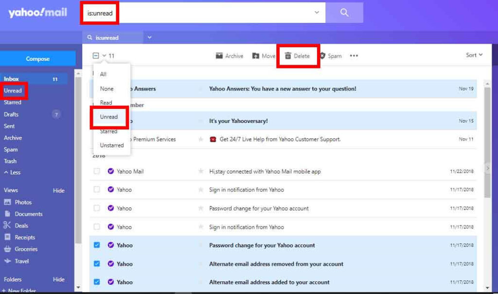 Delete all Unread Emails In Yahoo Mail
