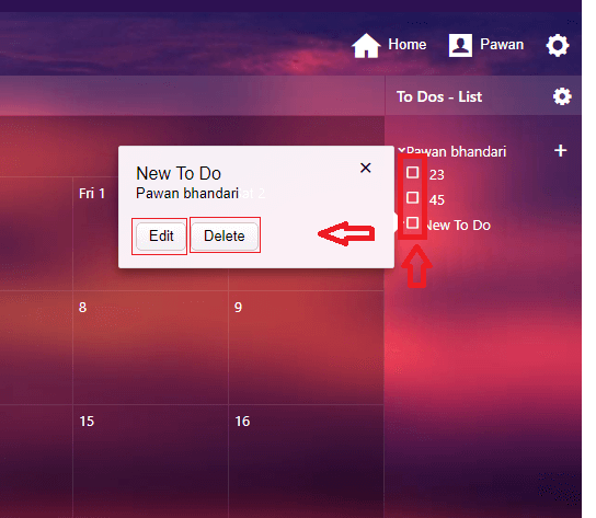 edit and delete - calender