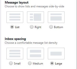 message layout and inbox spacing yahoo mail