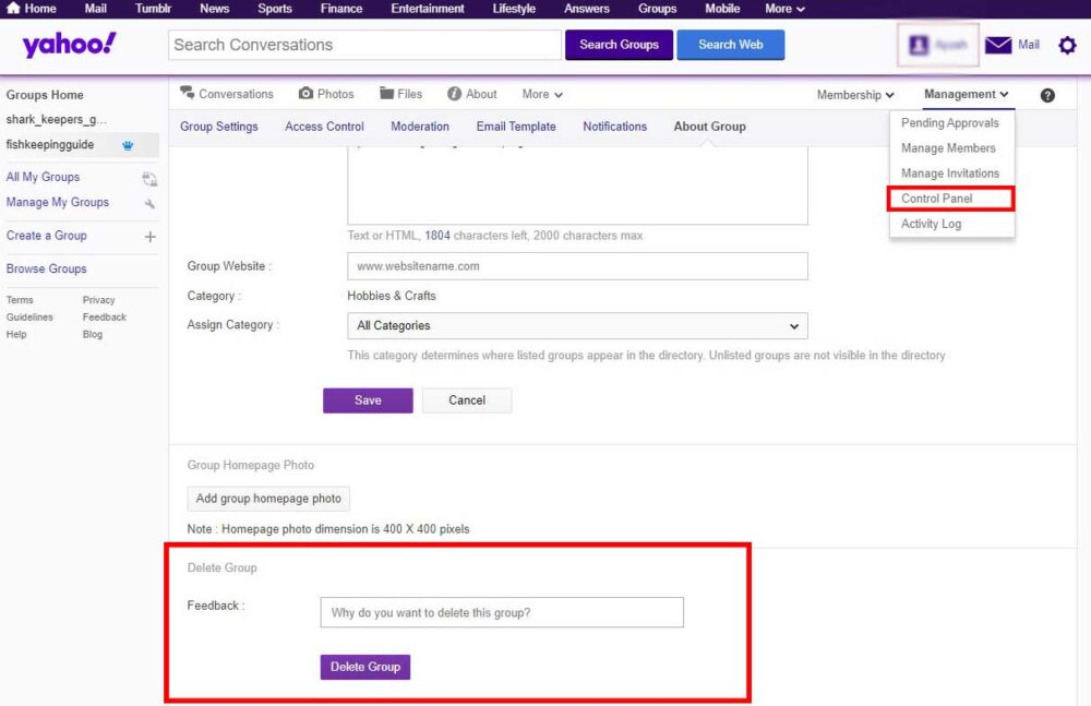 delete yahoo group