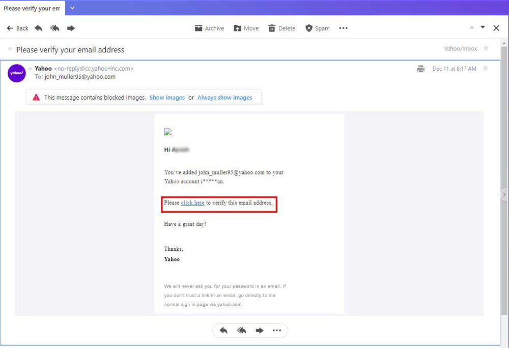 verify account to Forward Emails From Yahoo Mail automatically