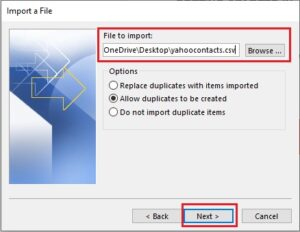 Import File Outlook