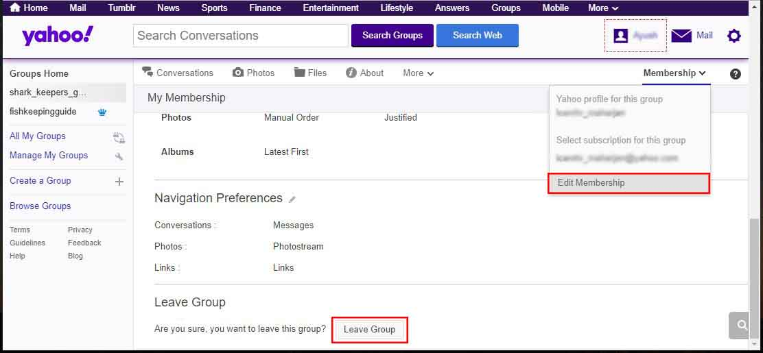 leave yahoo group