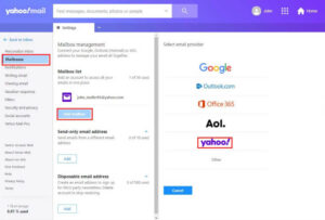 merge multiple Yahoo Email Accounts - mailbox settings