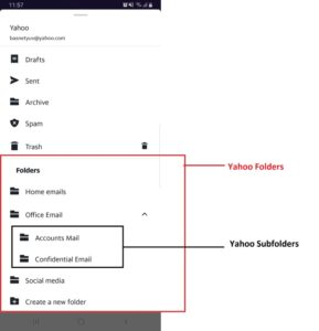 Folders to organize yahoo mails in Yahoo Mobile App