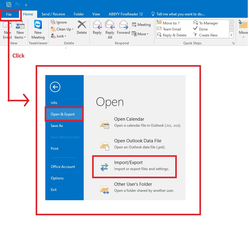 Outlook Import/Export