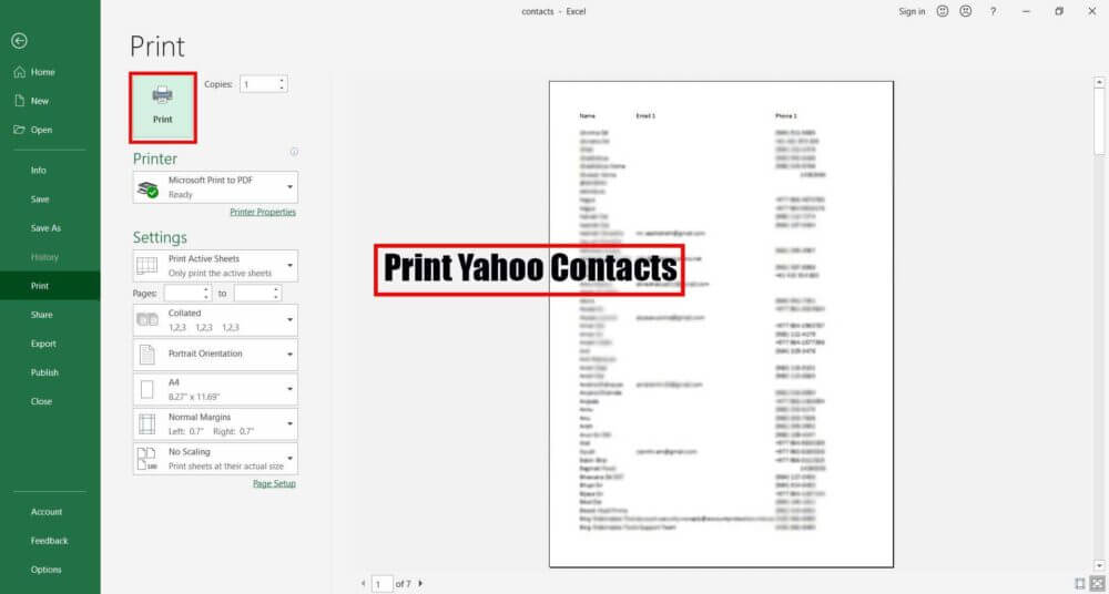 print yahoo contacts using excel
