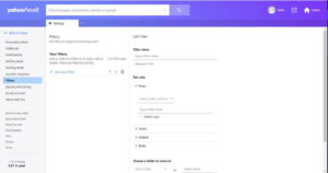 set up filter in yahoo mail