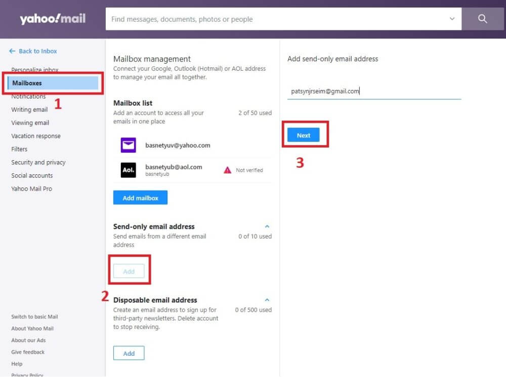 Send-only Email Address in Yahoo Mail