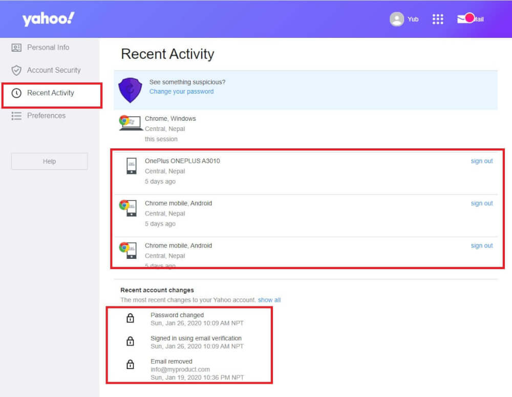 Yahoo Recent Activity